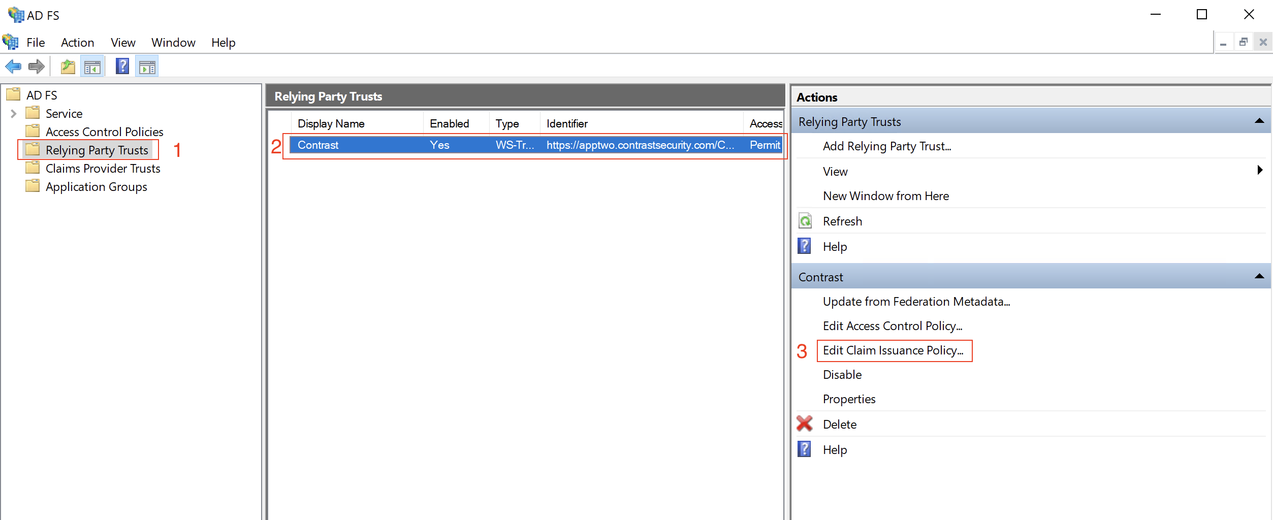 Screenshot of the AD FS Management console, highlighting steps necessary to edit the claim issuance policy